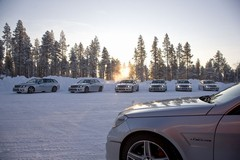 Cars at the AMG 'Garage' in Arjeplog