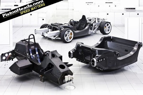 MP4-1 chassis tub with 12C monocell and rolling chassis