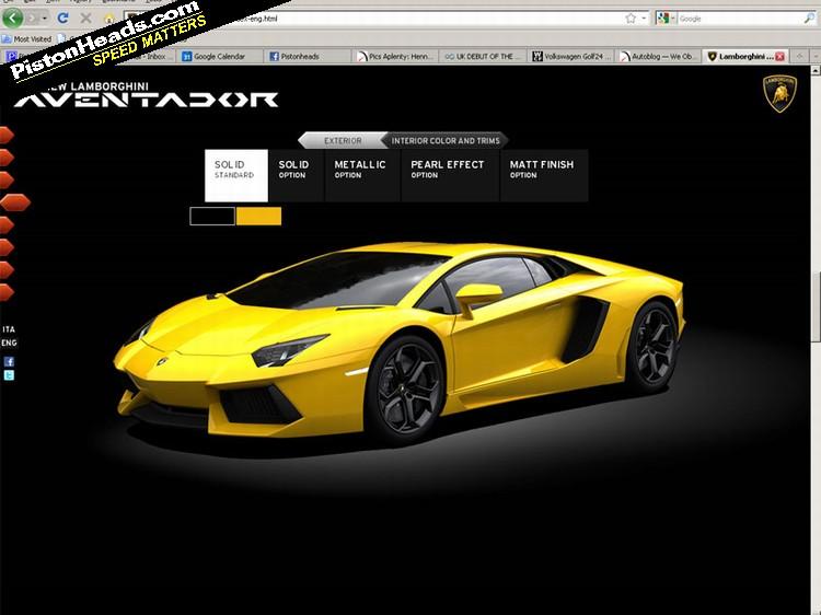 The Lamborghini Aventador Microsite.