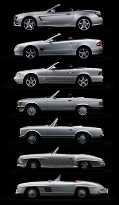 Top to bottom: R231, R230, R129, R107, W113, W121, W198
