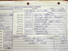 Original sales docket for the TVR