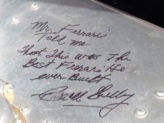 Handwritten note by Mr Shelby in 250 GT