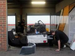 Caterham pit garage always busy