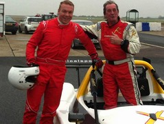 Hoy with instructor and racer Ian Flux