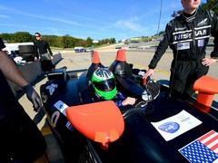 Harris heads off in the Deltawing...