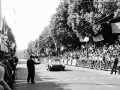 Fitch crossing the line in the 1955 Mille Miglia