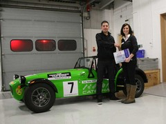 Winner Dan Livingstone with his race car