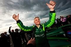Lord Drayson celebrates a successful run