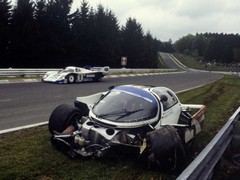 Bellof's wrecked 956 at the corner now with his name