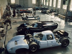 Lolas on the Slough production line in 1968
